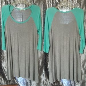 NWOT TEAL GREY OVERSIZED CASUAL TOP /dress soft